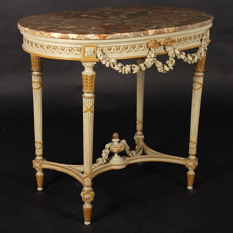 LOUIS XV CARVED PAINTED CENTER TABLE OVAL 1920