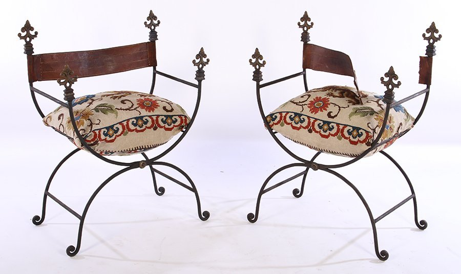 PAIR WROUGHT IRON CAMPAIGN ARM CHAIRS