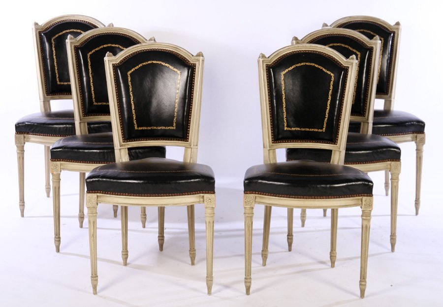 SET LOUIS XVI CARVED PAINTED LEATHER DINING CHAIRS 1940