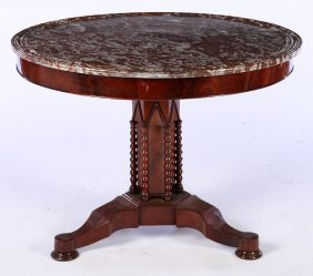 Round 19th Cent. Mahogany Marble Top Table