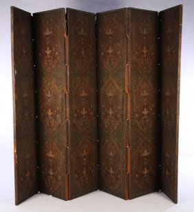 19th Cent. Polychromed Leather 6 Panel Screen