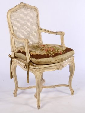 Louis Xv Carved Painted Arm Chair Loose Cushion
