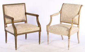 2 Louis Xvi Painted Giltwood Armchairs 1940