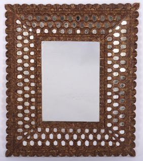 Giltwood Gesso Carved Mirror Inset Arched Mirror