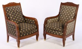 Pair 19th Cent. French Restoration Arm Chairs