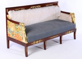 19th Cent. French Empire Giltwood Carved Settee