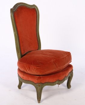 Louis Xv Style Carved Painted Boudoir Chair C1930