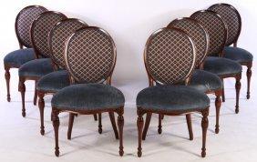 Set 8 Mahogany Upholstered Dining Chairs