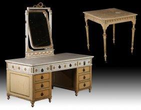 Early 20th C. Louis Xvi Painted Vanity & Table