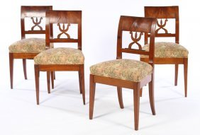 Set 4 19th Century Cherry Biedermier Side Chairs