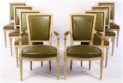 SET OF 8 FRENCH LOUIS XVI DINING CHAIRS C.1940
