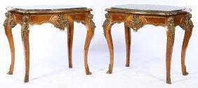 Pair Louis 15 Marble Top Bronze Tables Linke