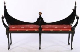 Regency Style Ebonized Bench Upholstered Seat