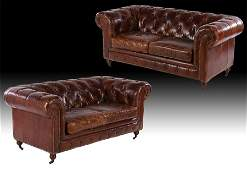 PAIR ENGLISH STYLE LEATHER CHESTERFIELDS SOFAS