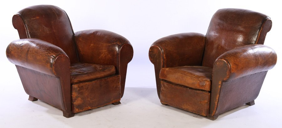 PAIR FRENCH ART DECO LEATHER CLUB CHAIRS C.1940