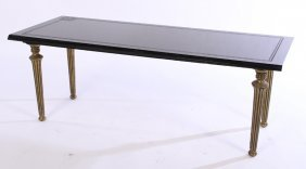 Brass Coffee Table Etched Marble Top C.1950