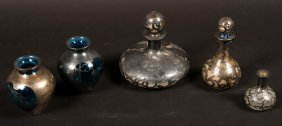 5 Pc Lot Silver Overlay Perfume Bottles C.1900