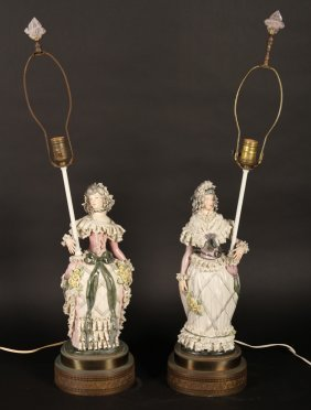 Godey Inspired Pair Porcelain Table Lamps C.1920