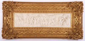 Marble Dust Plaque Of Putti In Ornate Gilt Frame