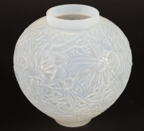 Lalique Opalescent Gui Glass Vase Engraved