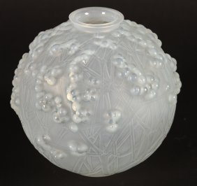 Lalique Druide Frosted Glass Vase Impressed