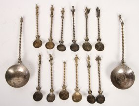14 Pc Set Of Florentine Figural Spoons C.1856