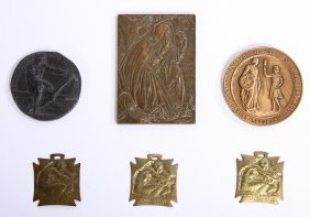 6 Bronze And Brass Commemorative Medals Lalique