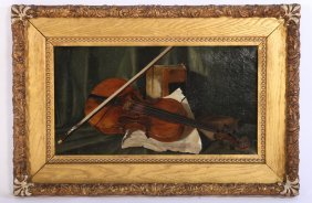 Antique Oil Painting Of Violin & Bow Unsigned