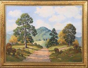 Ernest Fredericks Signed Oil On Canvas Landscape