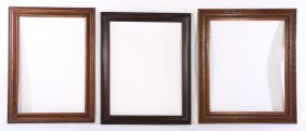 3 Large Wooden Frames Intricate Borders C.1920