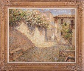 Luigi Zago Oil On Canvas Italian Courtyard Signed