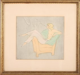 Vintage Mixed Media On Paper Of Semi Nude Woman