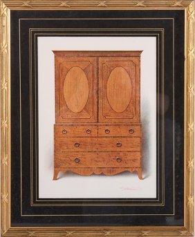 Framed Print Of A Biedermeier Cabinet