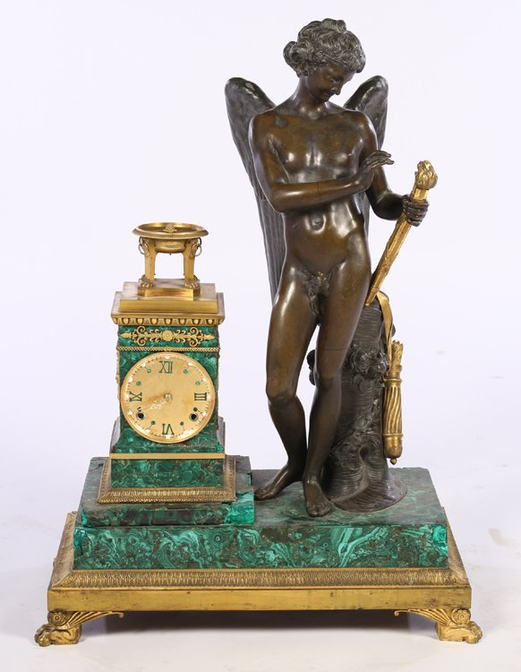 NEOCLASSICAL FIGURAL DORE BRONZE CLOCK MALACHITE C 1880