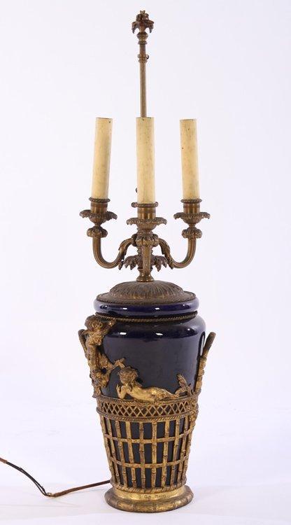 PORCELAIN BRONZE MNTD TABLE LAMP AUGUSTE MOREAU 1870