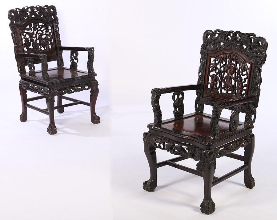 PAIR CHINESE HARDWOOD ARMCHAIRS PLANK SEAT 1870
