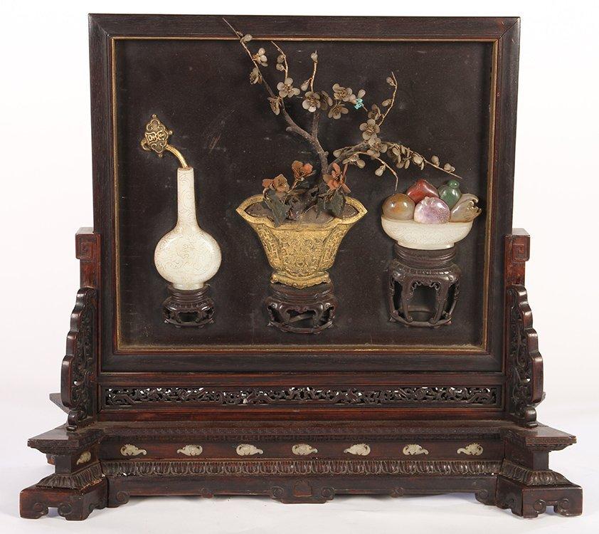 BRONZE WOOD JADE STONE INLAID CHINESE SCREEN 1870