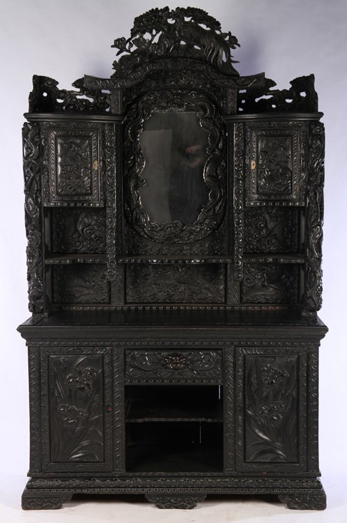19TH C. JAPANESE ELABORATE CARVED CABINET BIRDS DRAGONS