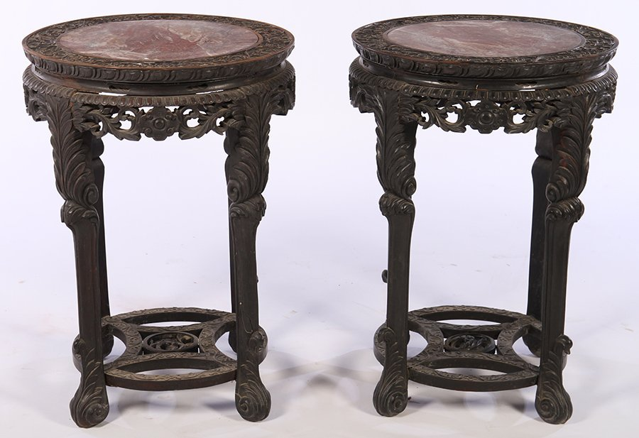 PAIR 19TH C. CARVED CHINESE PLANT STANDS 1870