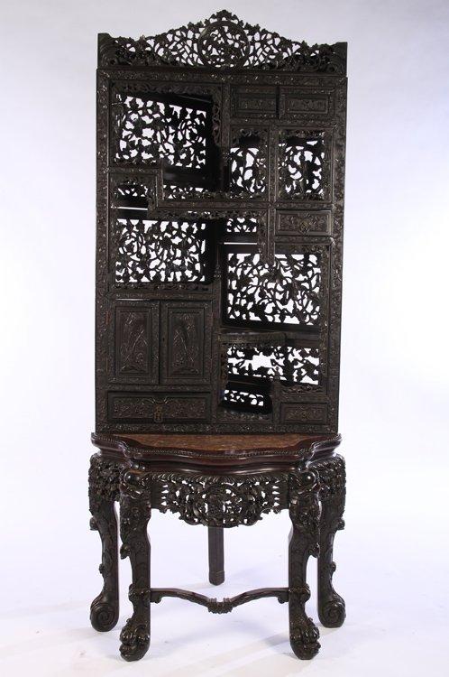 CARVED CHINESE HARDWOOD CORNER CABINET 1870