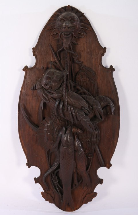 """47"""" VICTORIAN BLACK FOREST CARVED WALL PLAQUE C.1860"""