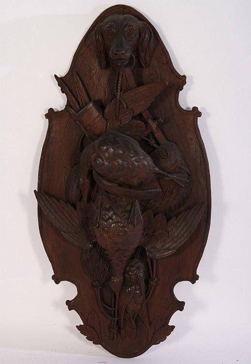 "47"" BLACK FOREST VICTORIAN WALNUT WALL PLAQUE C.1860"