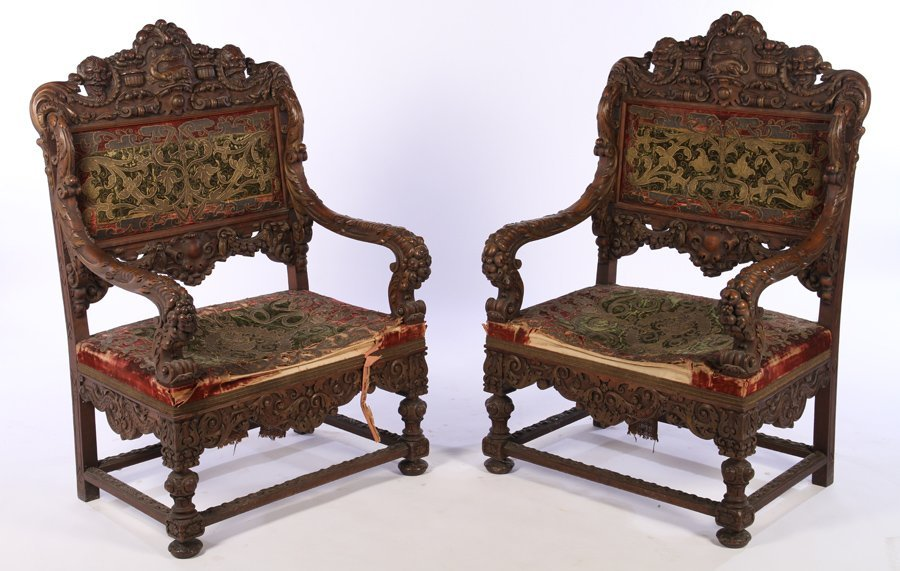 PAIR CARVED WALNUT OVERSCALED ARMCHAIRS C.1860