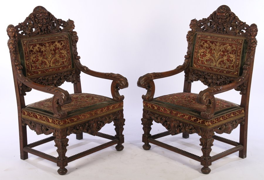 PAIR LATE 19TH C. CARVED WALNUT ARMCHAIRS 1860