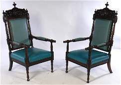 PAIR VICTORIAN ROSEWOOD LIBRARAY CHAIRS C 1890