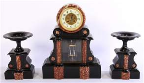 FRENCH SLATE RED MARBLE CLOCK GARNITURE SET C1880