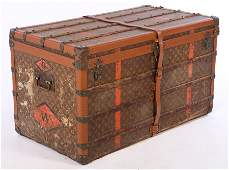 LOUIS VUITTON TRUNK WITH LABEL AND TRAY