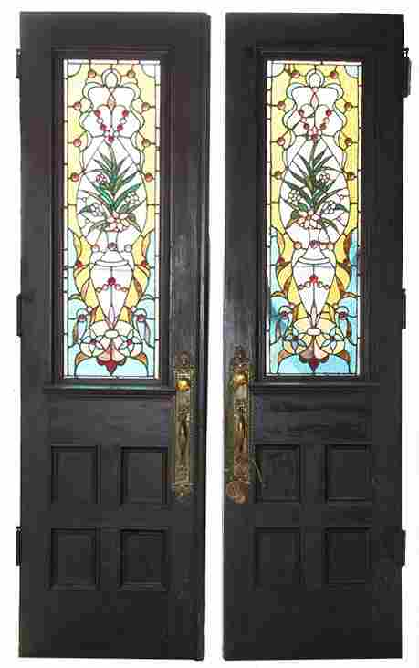 PAIR AMERICAN VICTORIAN STAINED GLASS DOORS C1880