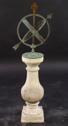 Bronze Armillary On Carved Marble Baluster