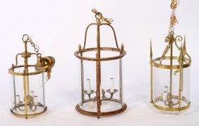 3 Hanging Lanters 2 Brass 1 Gilt Iron Glass Shade